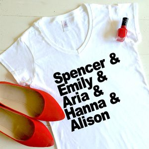 Pretty Little Liars – T-shirt Femme S à XL – Nom des personnages